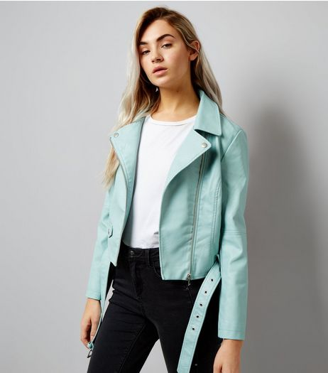 Petite Mint Green Leather-Look Biker Jacket | New Look