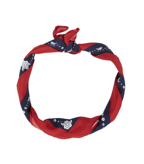 Red Colour Block Abstract Print Bandana  | New Look