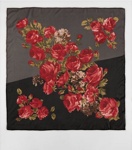 Multicoloured Chiffon Rose Print Bandana  | New Look