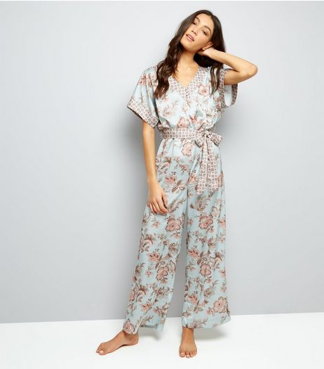 Mint Green Contrast Floral Satin Lounge Jumpsuit | New Look