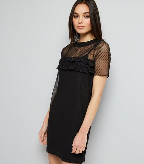 Innocence Black Mesh Spot Print Dress | New Look