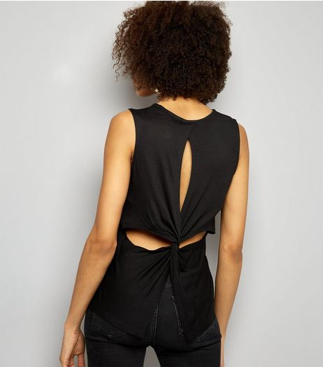 Black Twist Cut Out Back Vest  | New Look