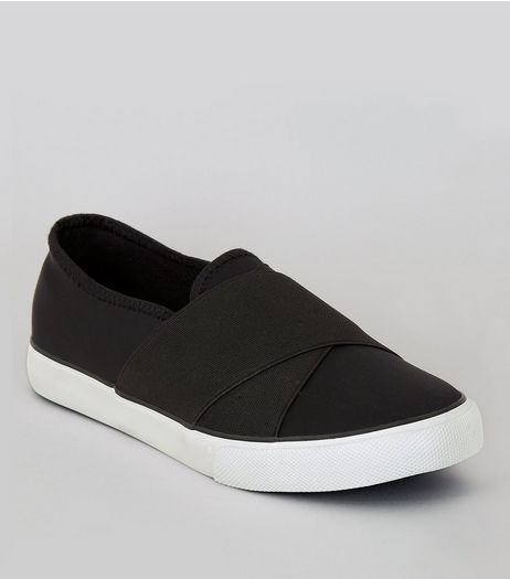 Black Elasticated Cross Strap Plimsolls | New Look