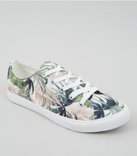 Cream Tropical Floral Print Trainers | New Look