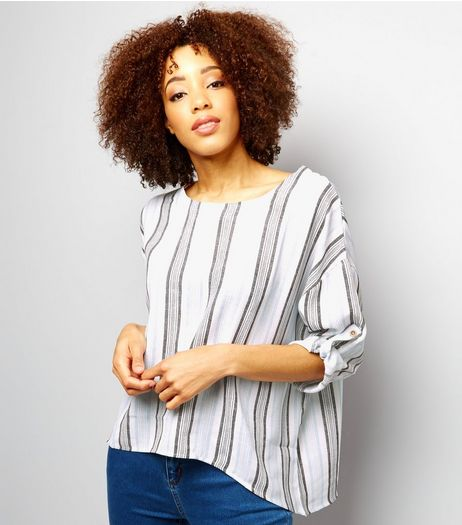 QED Navy Stripe Drop Sleeve Top  | New Look