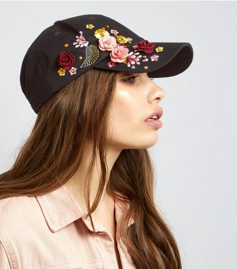 Black Floral Embroidered 3D Cap | New Look