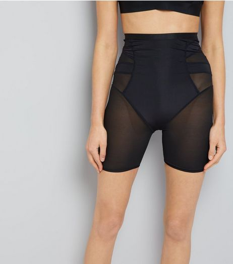 Black Mesh Panel Shaping Shorts | New Look