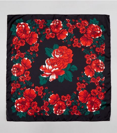 Black Rose Print Satin Bandana | New Look