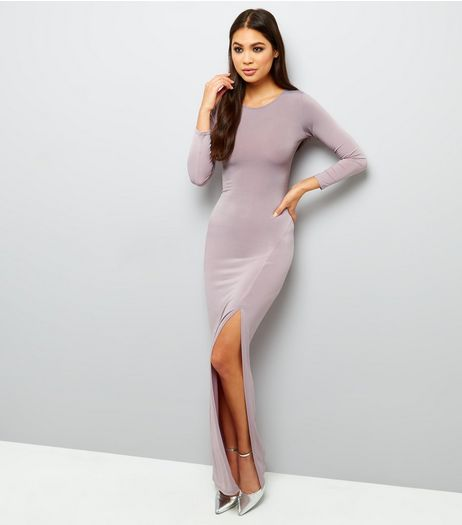 Mink Long Sleeve Split Side Maxi Dress  | New Look