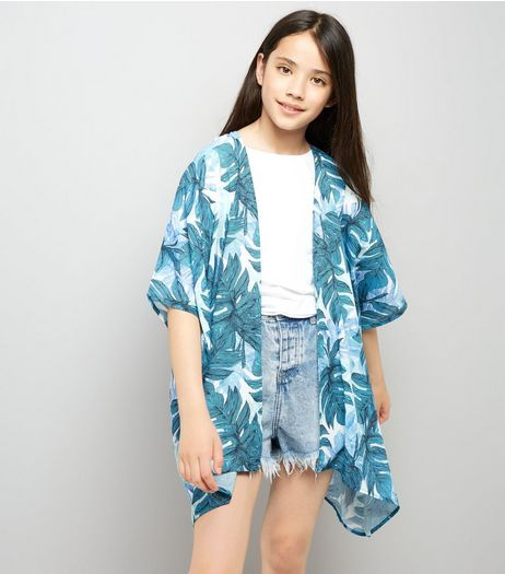 Teens Blue Tropical Print Longline Kimono | New Look