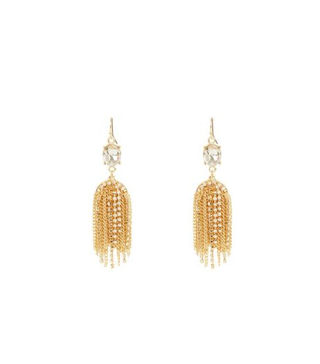 Gold Crystal Waterfall Tassel Drop Earrings | New Look