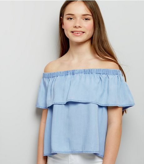 Teens Pale Blue Denim Frill Trim Bardot Neck Top | New Look