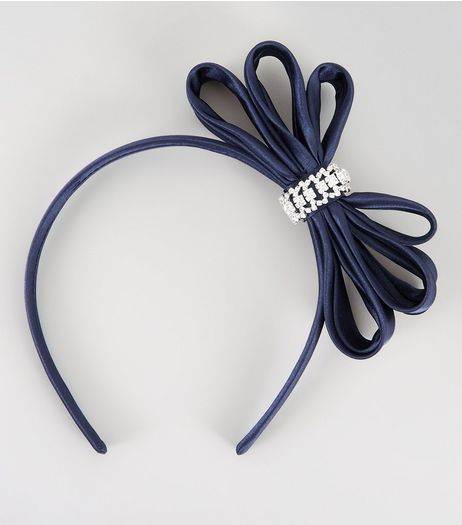 Navy Embellished Bow Fascinator  | New Look