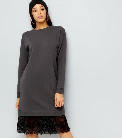 Dark Grey Lace Hem Longline Sweater | New Look