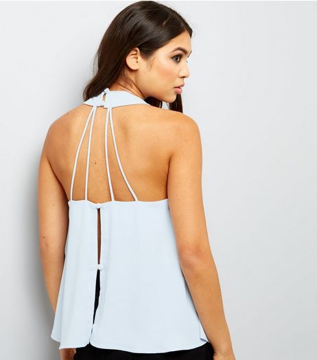 Pale Blue Strappy Halter Neck Top  | New Look