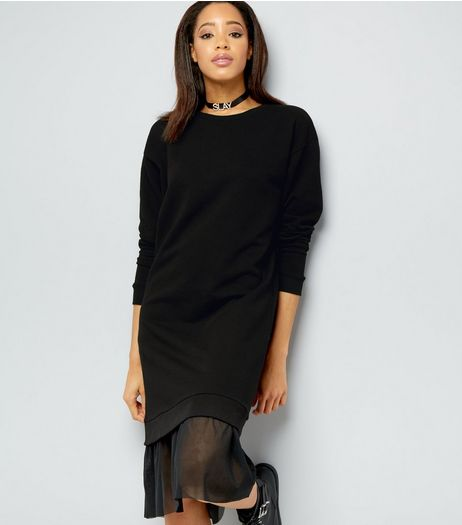 Black Mesh Hem Longline Sweater | New Look