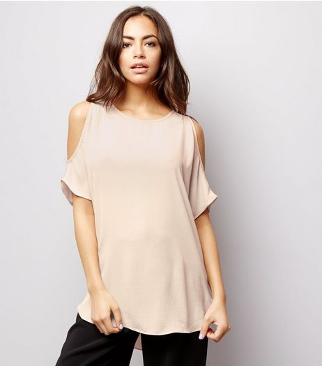 Shell Pink Cold Shoulder Top | New Look