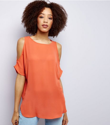 Coral Cold Shoulder Top | New Look