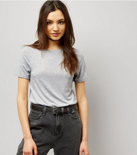 Mid Grey Short Sleeve T-Shirt Bodysuit  | New Look