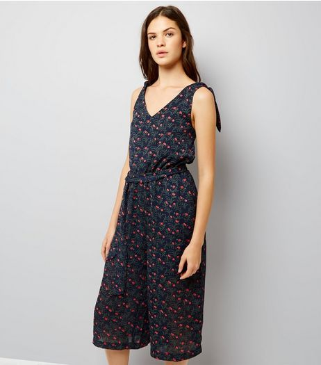 Blue Vanilla Navy Floral Print Tie Strap Jumpsuit  | New Look