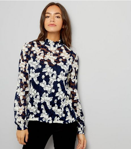 Blue Vanilla Black Butterfly Print Lace Top  | New Look