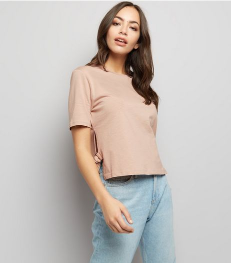 Light Brown D-Ring Tie Side T-Shirt  | New Look