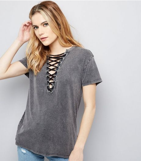 Dark Grey Washed Lattice Front Top  | New Look