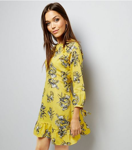 Innocence Yellow Floral Frill Trim Dress | New Look