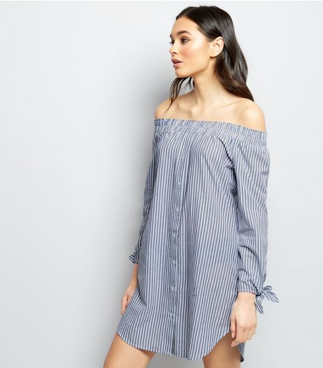 Innocence Blue Stripe Bardot Neck Shirt Dress | New Look