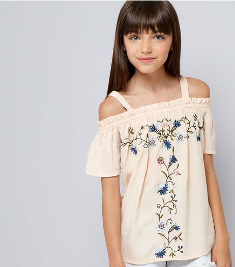 Teens Pink Floral Emboidered Shirred Cold Shoulder Top | New Look