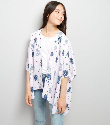 Teens Pink Floral Print Kimono | New Look
