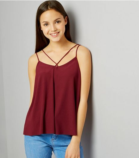 Teens Burgundy Double Strap Front Cami | New Look