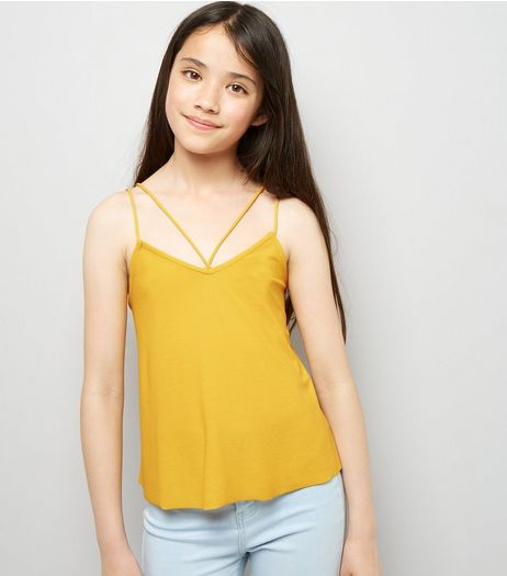 Teens Yellow Double Strap Front Cami | New Look