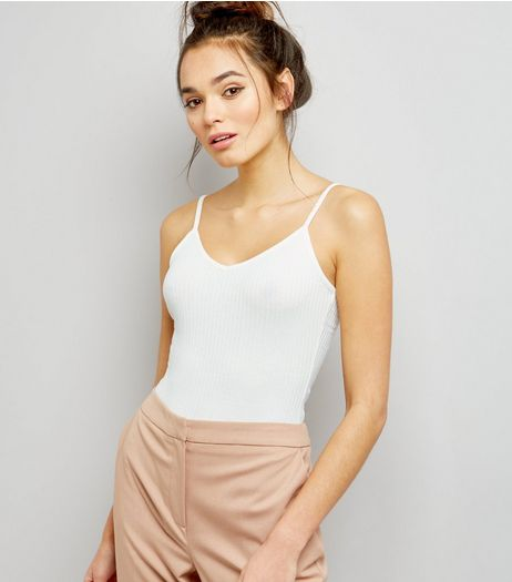 Cream Cross Strap Back Vest Bodysuit  | New Look