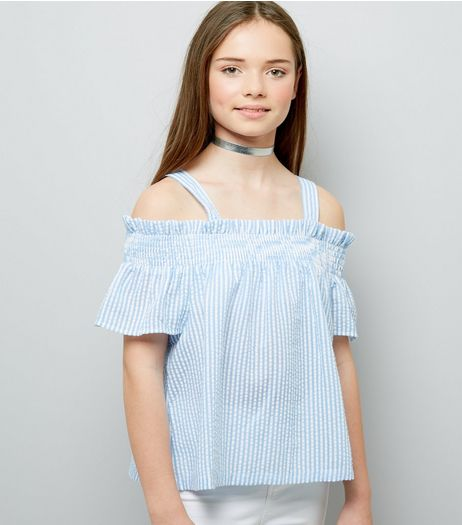 Teens Blue Stripe Seersucker Cold Shoulder Top | New Look