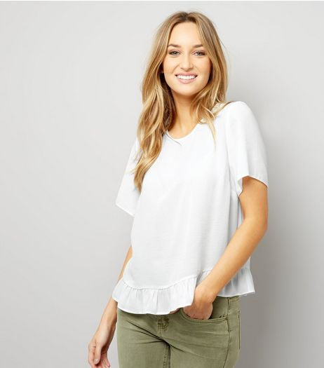 Cream Frill Trim Peplum Hem T-Shirt  | New Look