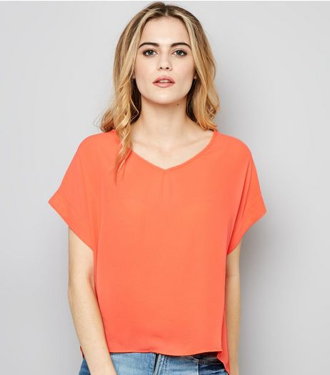 Coral V Neck Short Sleeve T-Shirt  | New Look