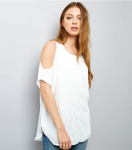 White Embroidered Cold Shoulder Top | New Look