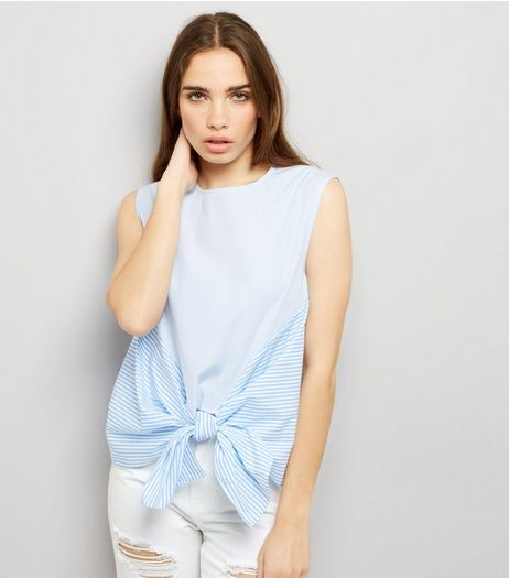 Blue Contrast Stripe Tie Front Top | New Look