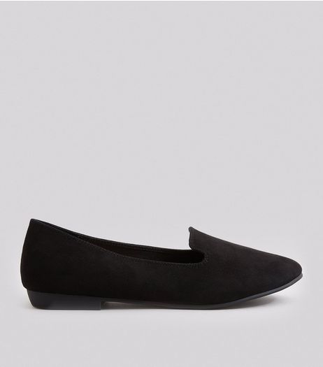Wide Fit Black Suedette Tab Slippers | New Look