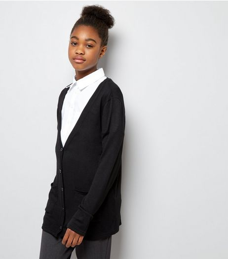 Teens Black Button Front Cardigan | New Look