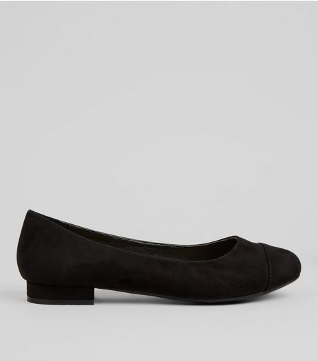 Wide Fit Black Comfort Suedette Pumps | New Look