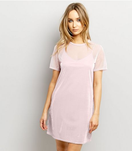 Mid Pink Mesh Metallic 2 in 1 Dress | New Look