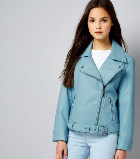 Teens Mint Green Leather-Look Jacket | New Look