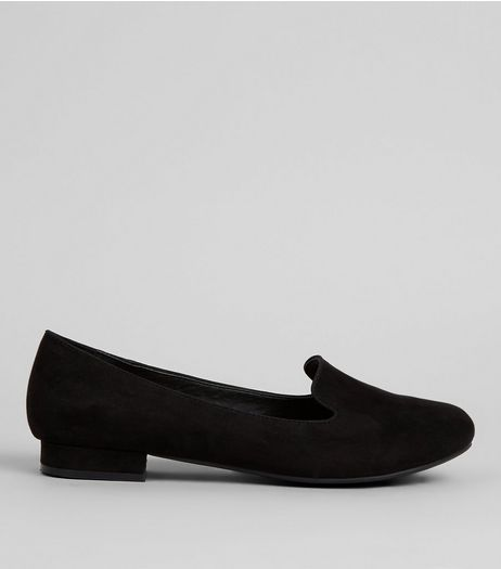Wide Fit Black Comfort Suedette Tab Slippers | New Look
