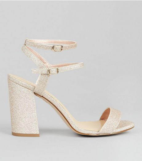 Wide Fit Gold Glitter Double Strap Heels | New Look