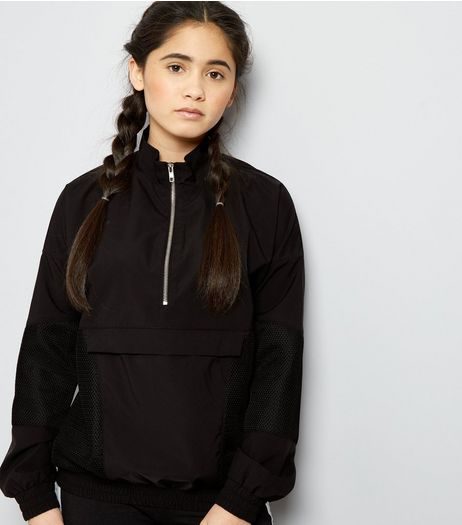 Teens Black Mesh Panel Half Zip Jacket | New Look
