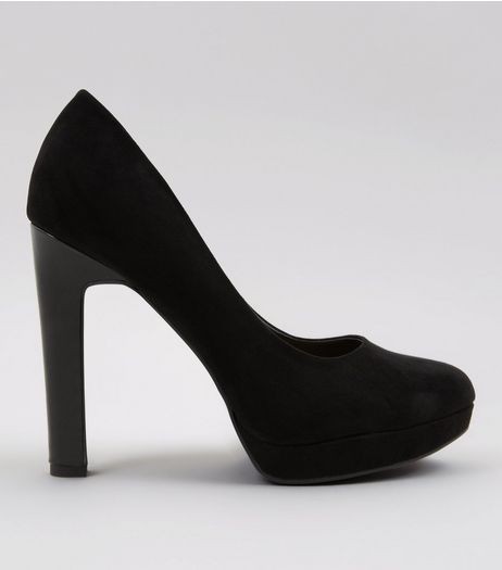 Wide Fit Black Comfort Suedette Platform Court Shoes | New Look