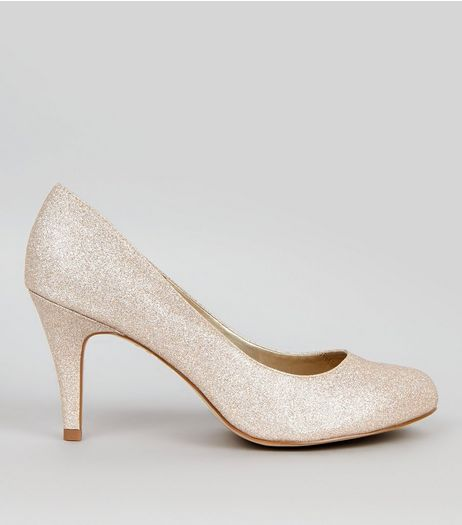 Wide Fit Gold Glitter Court Shoes  | New Look