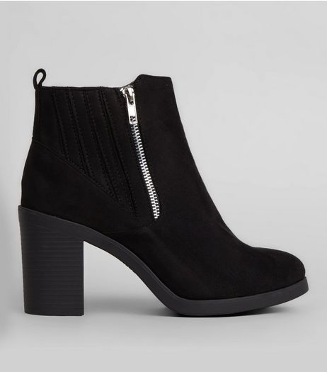 Wide Fit Black Suedette Stitch Trim Chelsea Boots | New Look